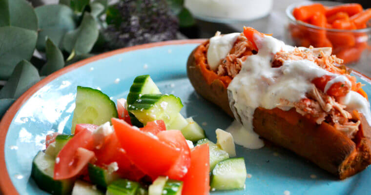 Stuffed Sweet Potato with Shredded Chicken