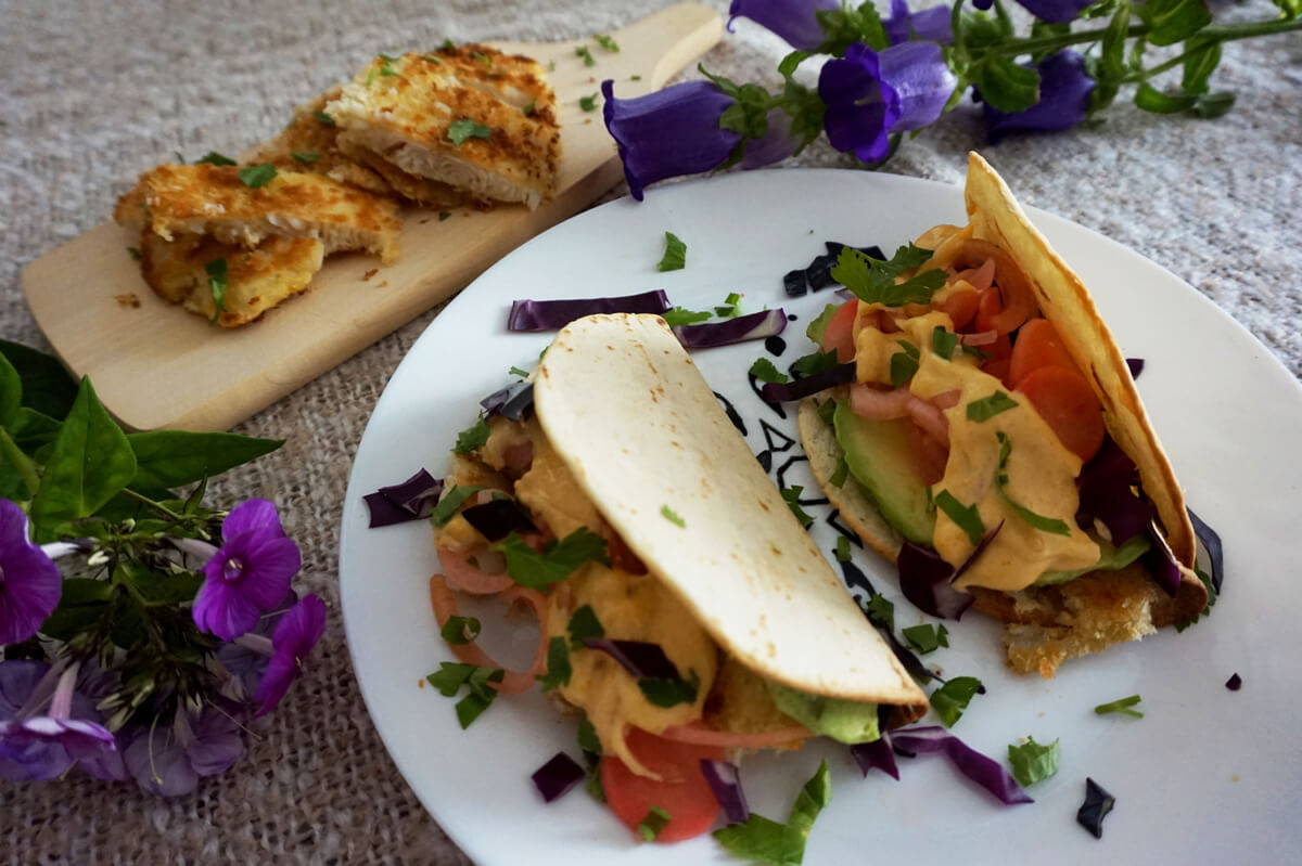 Fish tacos with sweet and sour veggies live love yummy for Fish taco sauce recipe