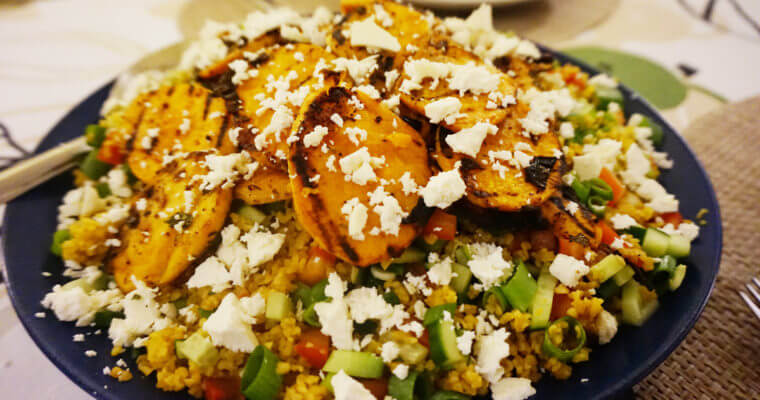 Bulgur Salad with Mint and Garlic Sweet Potatoes Slices