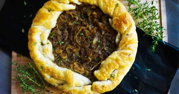 Sweet Onions and Garlic Tarte Tatin