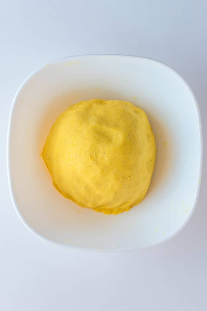Corn meal dough in a bowl