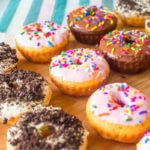 Cake Mix Mini Donuts Recipe with Strawbery, Cream Cheese , and Chocolate flavor