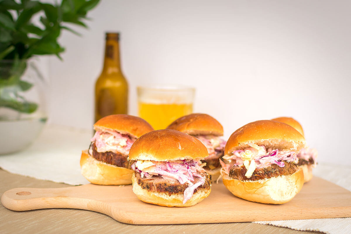 Easy roast beef slider recipe paired with a glass of beer