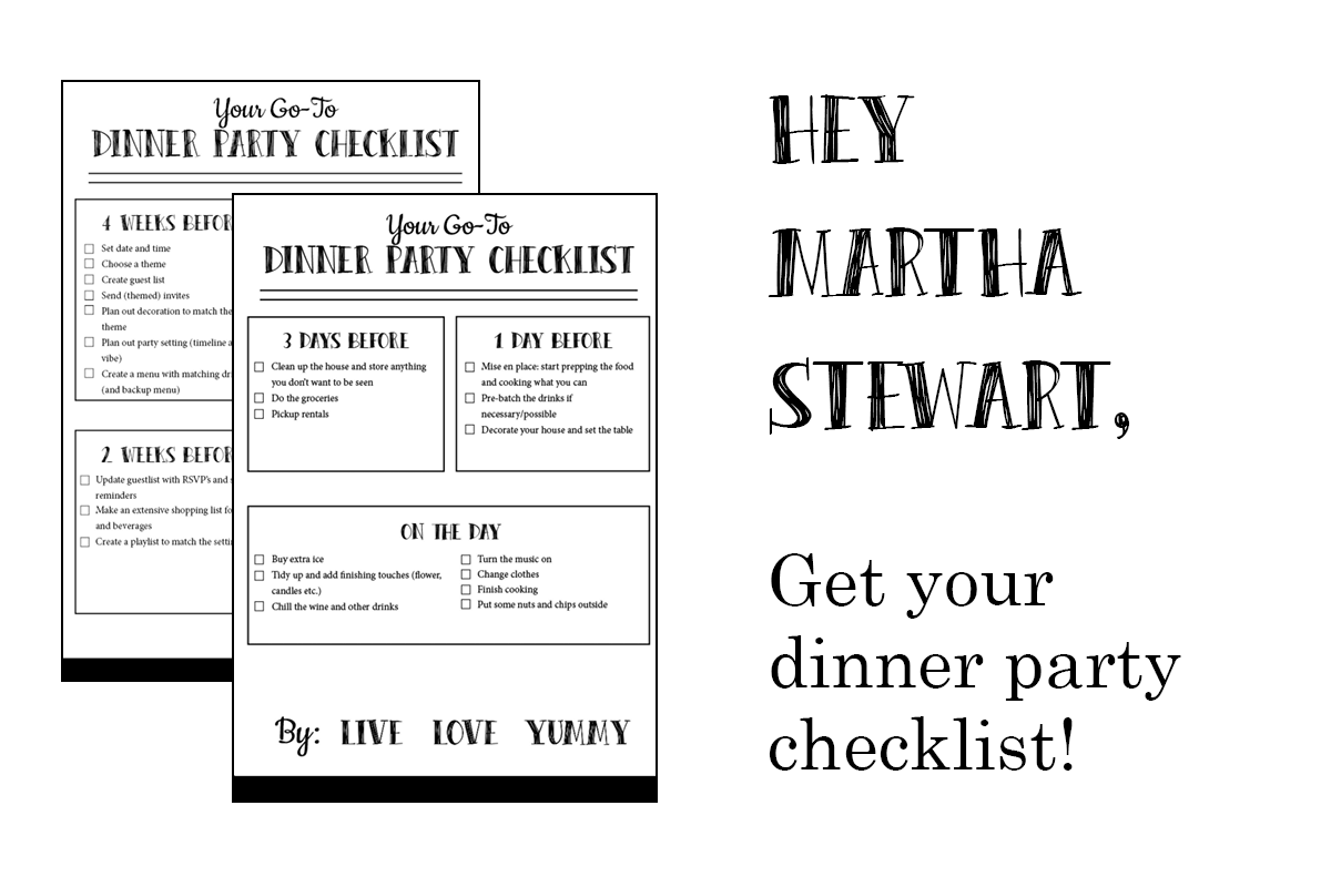 Image with a preview of the dinner party checklist for download.