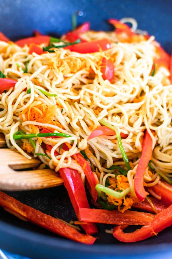 Noodles with vegetables in a pan