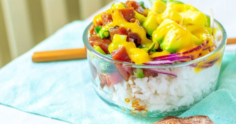 Tuna Poké Bowl Recipe with Asian-Mango Dressing