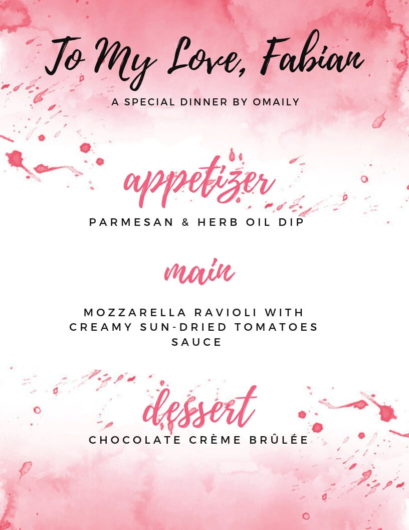 An easy Valentine's Day Menu graphic with 3 courses and a red color splash background.