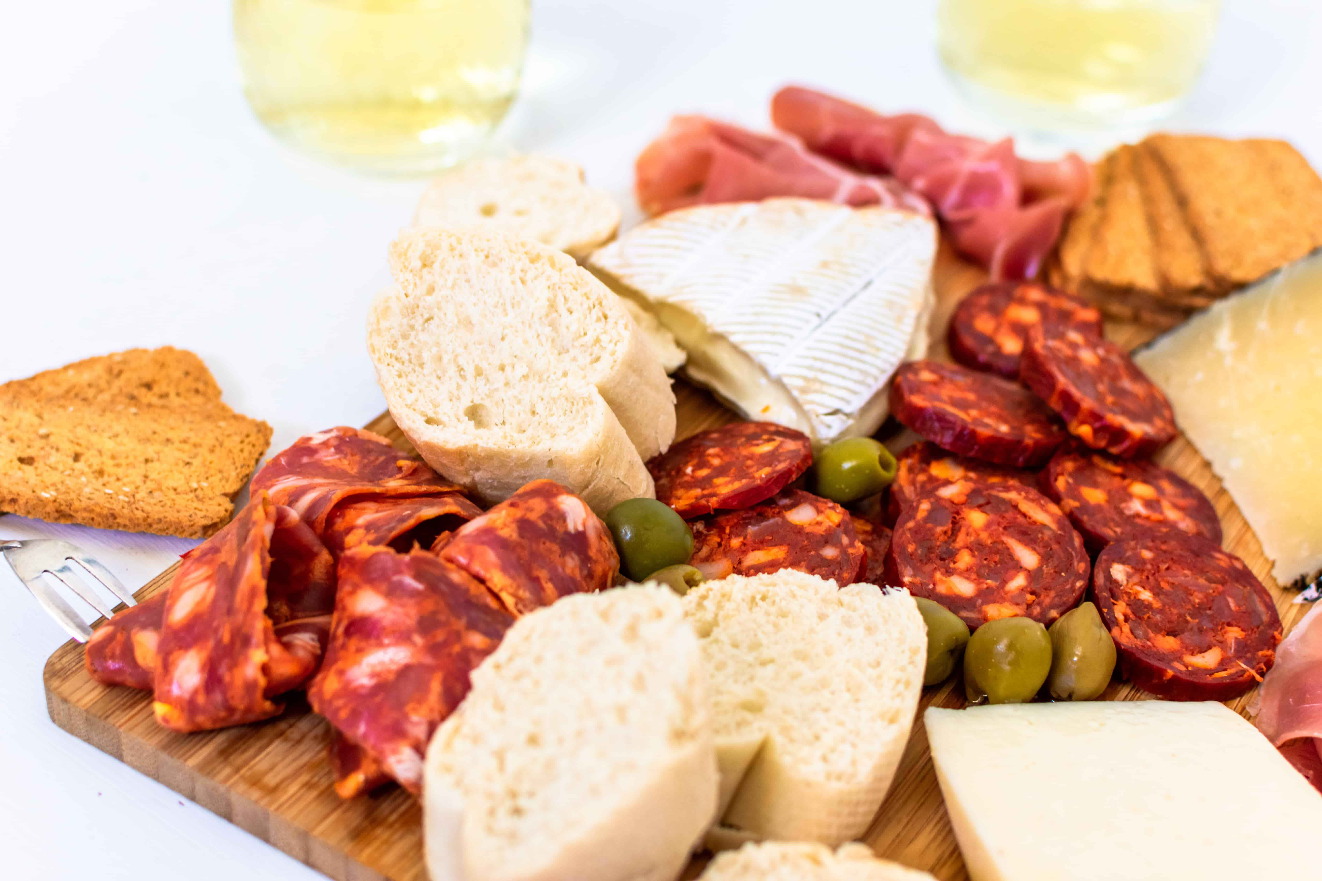 A close up of a Spanish cheese board.