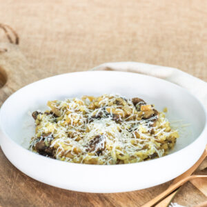 a bowl of caramelized onion risotto