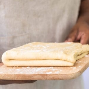 Rough puff pastry on a wooden board