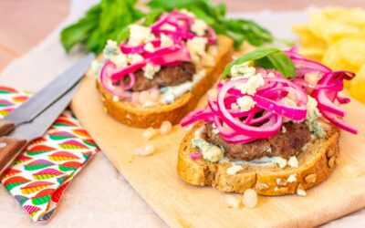 Open Face Burger Recipe with Pomegranate Onion Relish and Blue Cheese